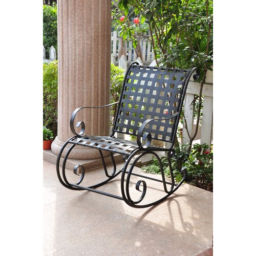 International Caravan Mandalay Iron Outdoor Patio Rocker