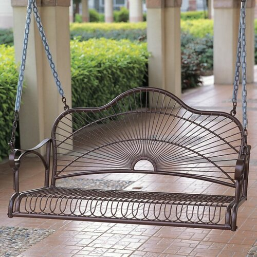 International Caravan Sun Ray Wrought Iron Patio Swing