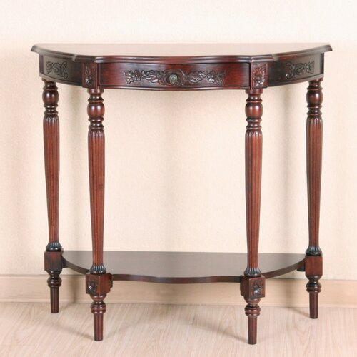 Windsor Hand Carved 1-Drawer Wood Console Table
