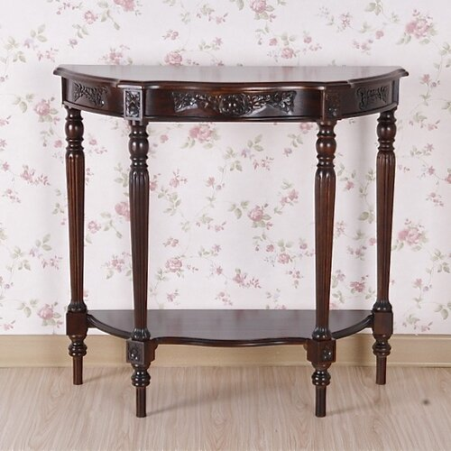 International Caravan Windsor Hand Carved Half Moon Console Table