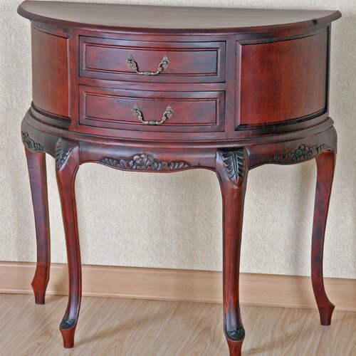 International caravan windsor half moon hand carved for Half moon console table