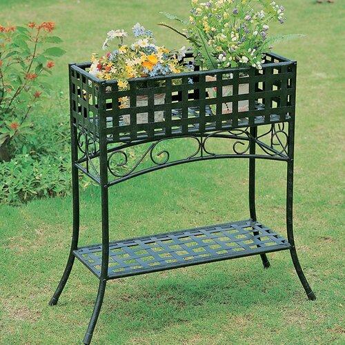 international caravan mandalay iron outdoor plant stand reviews wayfair. Black Bedroom Furniture Sets. Home Design Ideas
