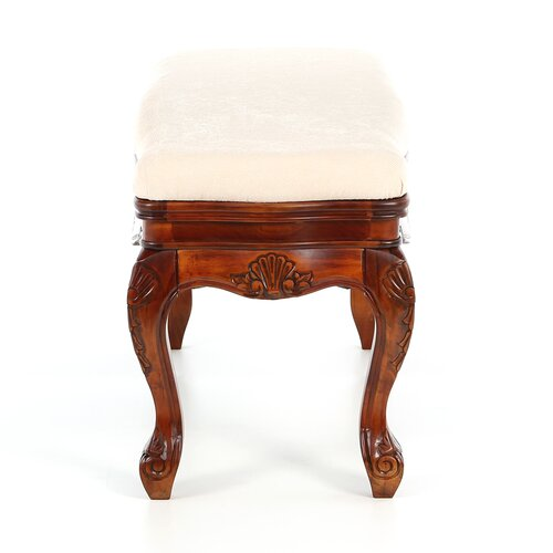International Caravan Windsor Hand Carved Vanity Bench