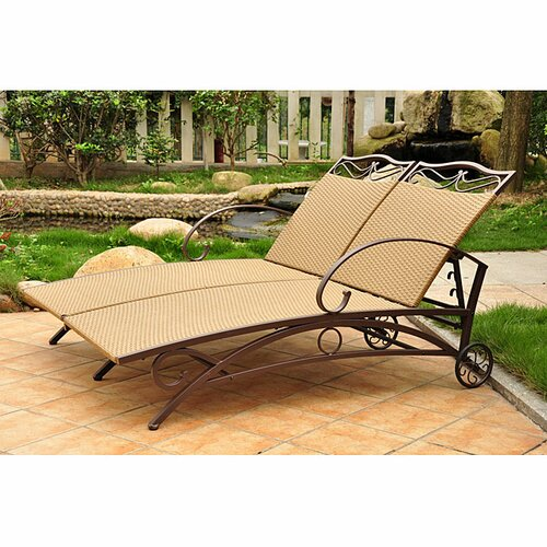 International Caravan Valencia Wicker Resin Double Patio Chaise Lounge