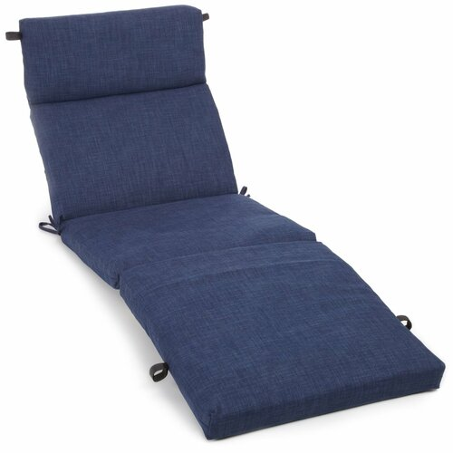 Blazing Needles All-Weather UV-Resistant Patio Chaise Lounge Cushion