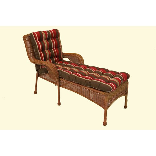 Blazing Needles Tufted Standard Outdoor Chaise Lounge Cushion