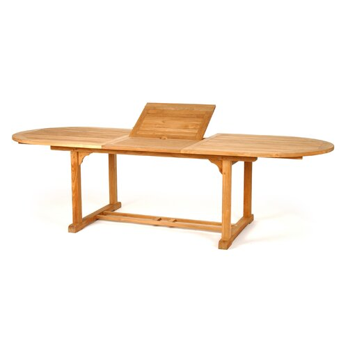 "Caluco LLC Teak Oval Extension Dining Table, 72"" - 96"""