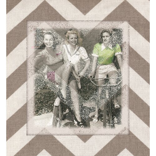 Vintage Girls Bicycles Beige Chevron Graphic Art on Canvas