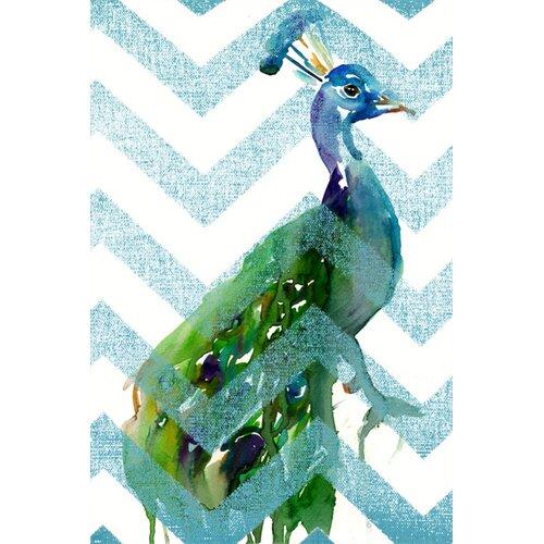 Peacock on Blue Chevron Graphic Art on Canvas