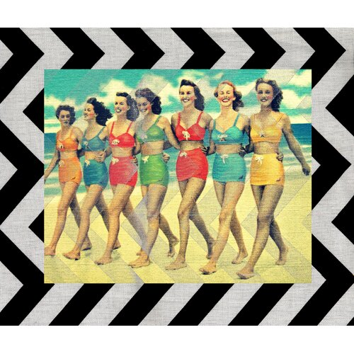 Vintage Girls on Beach Graphic Art on Canvas