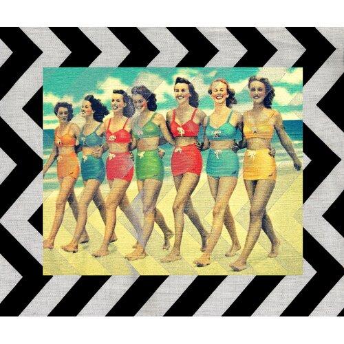 Vintage Girls on Beach Graphic Art on Canvas