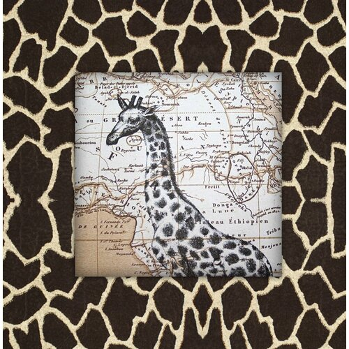 Giraffe with Map Graphic Art on Canvas