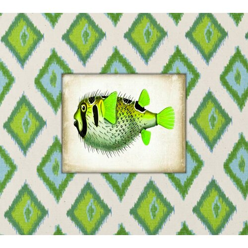 Fish Graphic Art on Canvas in Green