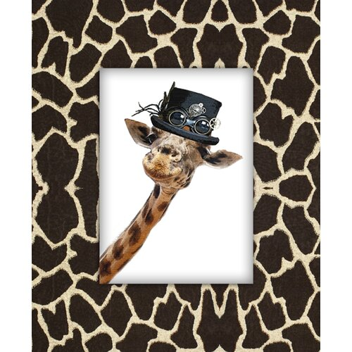 Giraffe with Hat Graphic Art on Canvas