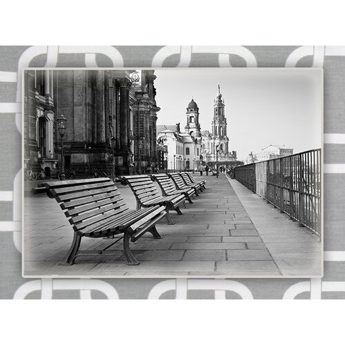 Benches World Photographic Print on Canvas in Gray