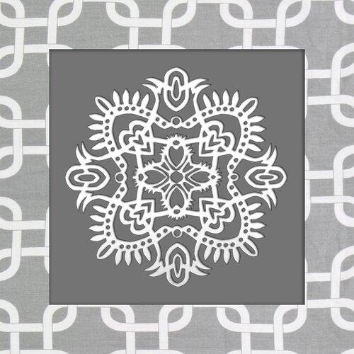 White Ornament Graphic Art on Canvas