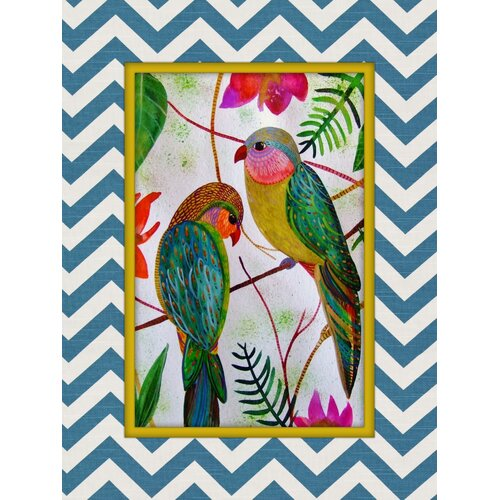 Birds of Paradise Print of Painting on Canvas in Multi