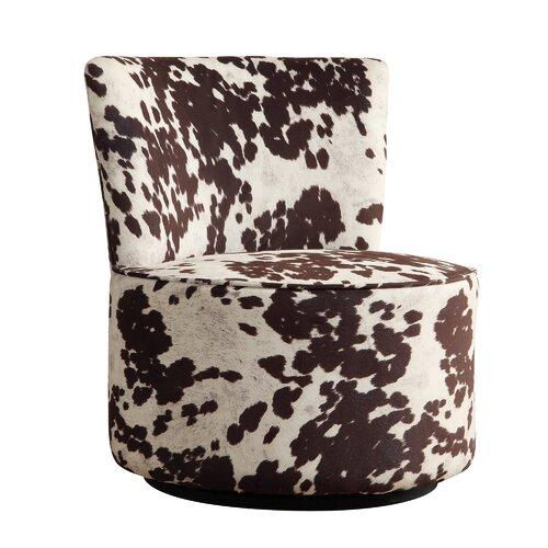 Alfosa Cow Hide Print Swivel Accent Chair