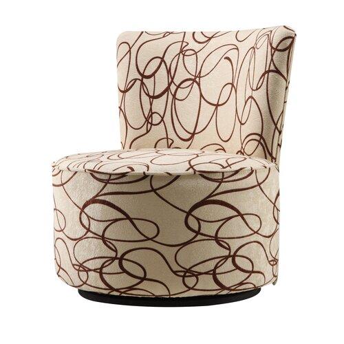 Alfosa Scroll Print Swivel Accent Chair