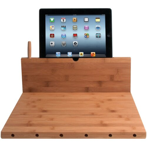Cutting Board with Stand and Knife Storage for iPad Air/iPad with Retina Display/iPad 3rd ...
