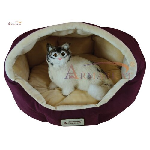 Cat Bed in Burgundy and Beige