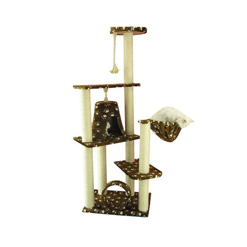 "Armarkat 66"" Classic Cat Tree in Saddle Brown with White Paw Print"