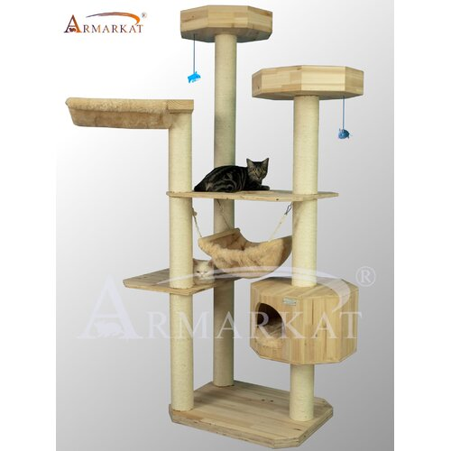"Armarkat 77"" Solid Wood Cat Tree"