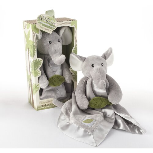 "Baby Aspen ""Ekko the Elephant"" Little Expeditions Plush Rattle Lovie with Crinkle Leaf"