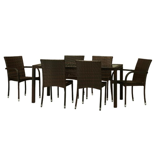 The hom viva 7 piece dining set reviews wayfair for Hom patio furniture
