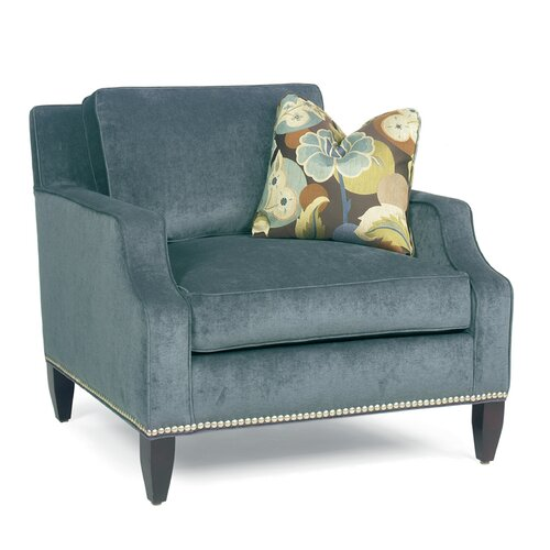 Modern Notch Arm Loose Pillow Back Club Arm Chair