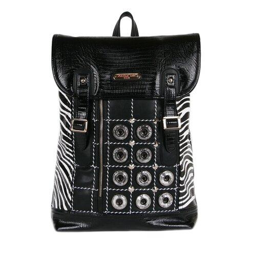 Minerva Zebra Quilted Embellished Backpack