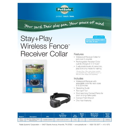 Pet Safe Stay and Play Wireless Dog Electric Fence Collar