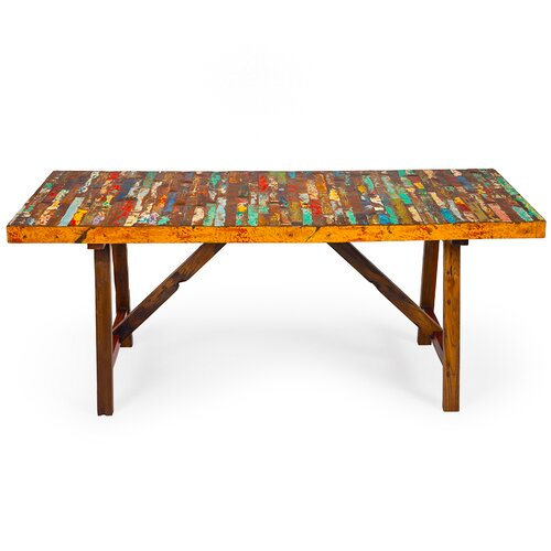 EcoChic Lifestyles Buoy Crazy Reclaimed Wood Dining Table