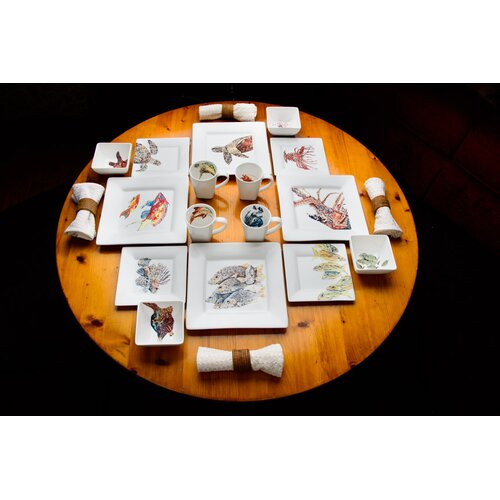 Dishes with Fishes Complete 16 Piece Dinnerware Set
