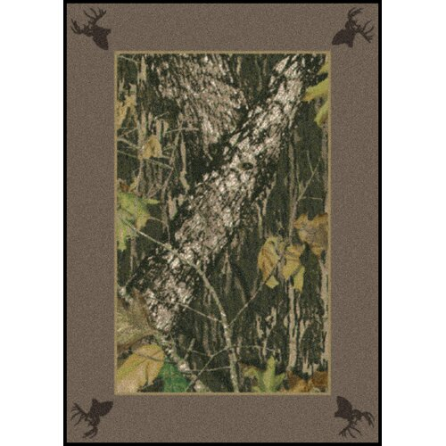 Mossy Oak Breakup Solid Border with Deer Heads Novelty Rug