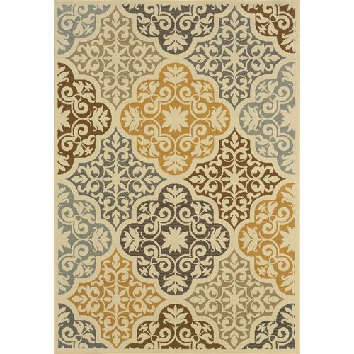 Oriental Weavers Bali Ivory/Grey Floral Indoor/Outdoor Rug