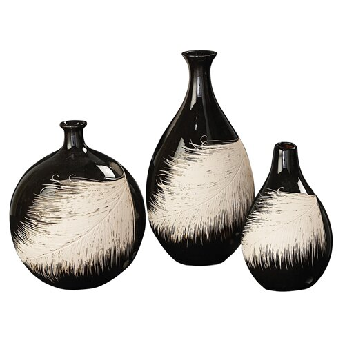 3 Piece Contemporary Feather Vase Set