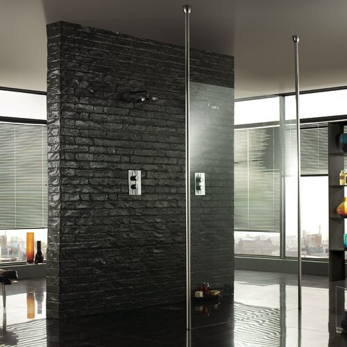 Wetroom glass shower panel with 2 floor to ceiling posts for Floor to ceiling glass panels