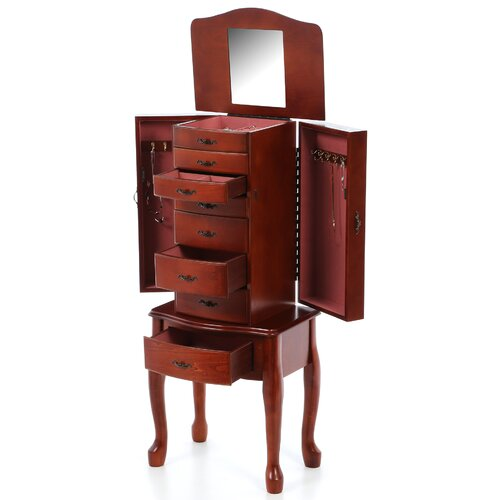 Wildon Home ® Salmon Deluxe Jewelry Armoire with Mirror