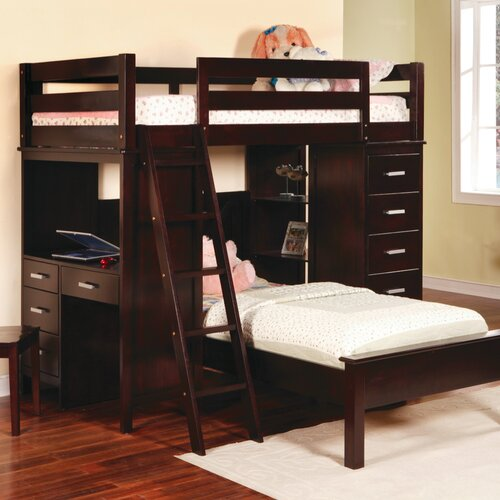 Wildon Home ® Depoe Bay Twin over Twin L-Shaped Bunk Bed with Desk and Bookshelves