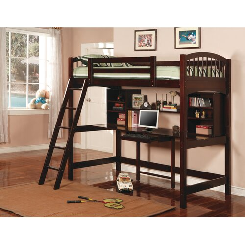Wildon Home ® Dorena Twin Low Loft Bed with Desk and Bookshelves