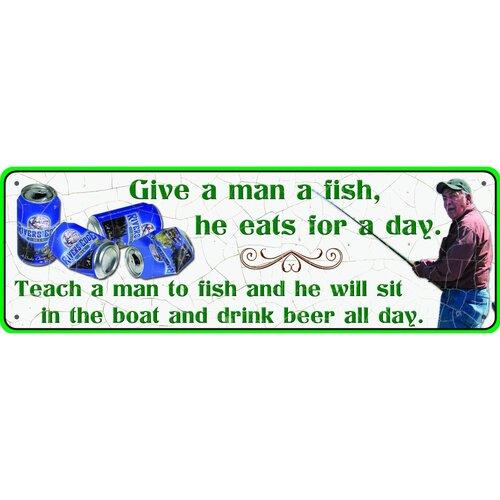 Give A Man A Fish Tin Sign Wall Art