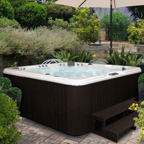 American Spas 6-Person 56-Jet Lounger Spa with Backlit LED Waterfall