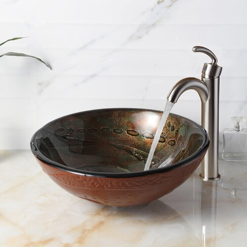 Hot Melted Rock Pattern Glass Bowl Vessel Bathroom Sink Wayfair
