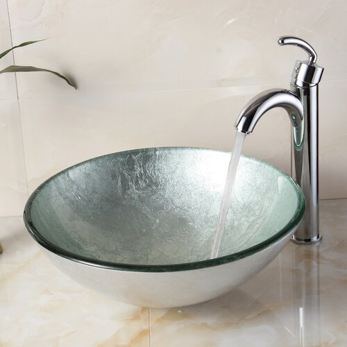 Round Bathroom Sink Bowls : ... Hand Painted Foil Round Bowl Vessel Bathroom Sink & Reviews Wayfair