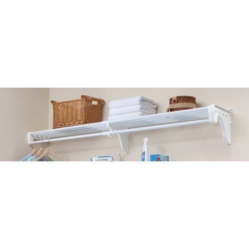 expandable closet rod and shelf with 1 end bracket wayfair. Black Bedroom Furniture Sets. Home Design Ideas