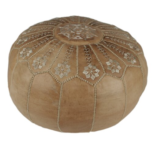 Moroccan Leather Embroidered Pouf Ottoman