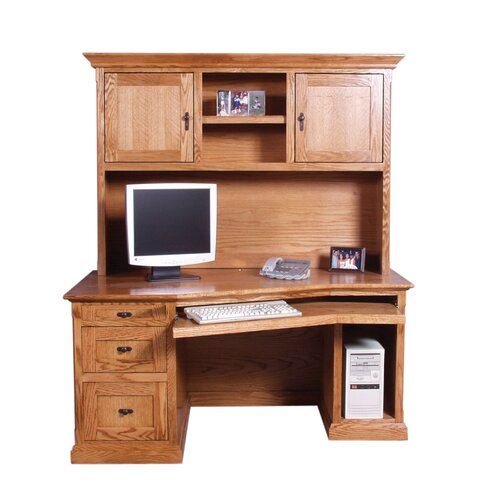 Mission style wood desk wayfair - Mission style computer desk with hutch ...