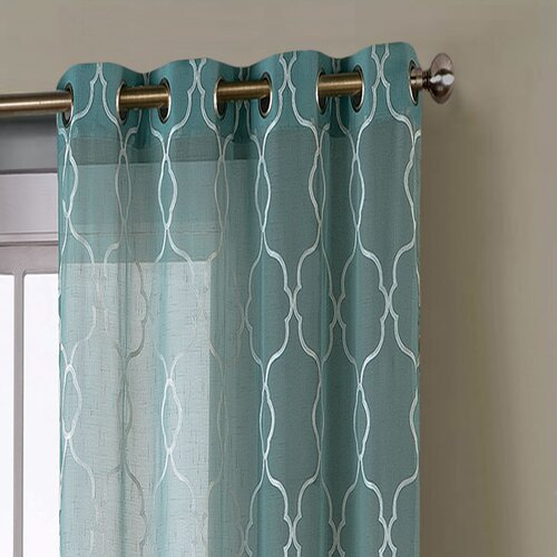 Curtains Ideas tier curtain sets : ... Boho Embroidered Faux Linen Sheer Curtain Panels & Reviews | Wayfair