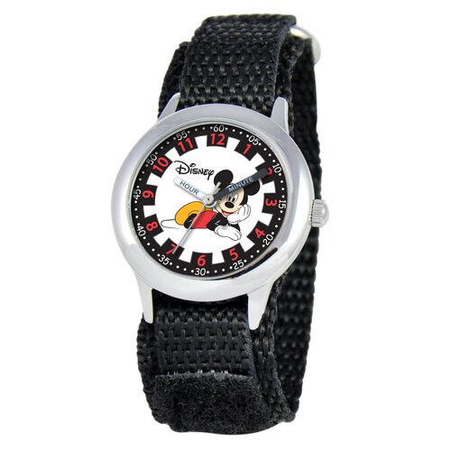 Disney Watches Kid's Mickey Mouse Time Teacher Watch in Black Nylon